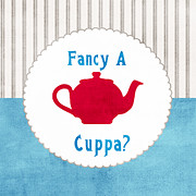 Country Kitchen Posters - Red Teapot Poster by Linda Woods