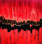 Thunder Mixed Media - Red Thunder Clash II by Saundra Myles