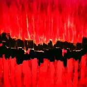 Thunder Mixed Media - Red Thunder Clash Impression by Saundra Myles