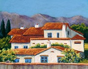 Adobe Buildings Pastels Posters - Red Tile Roofs Poster by Candy Mayer