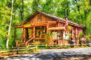 Log Cabin Digital Art Prints - Red Top Visitors Center Print by Daniel Eskridge