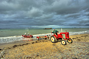 Normandy Landings Posters - Red Tractor at Arrowmanches Poster by Rob Hawkins