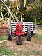 Hayride Prints - Red Tractor Ready to Roll Print by Laurie Eve Loftin