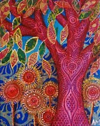 Alice Mason - Red Tree and Sunburst...