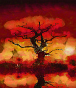 Fantasy Tree Art Drawings Prints - Red tree of life Print by Pixel Chimp