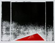 Original Mono Print Reliefs - Red Triangle Mono Print by Scott Shaver