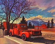 Taos Framed Prints - Red Truck Framed Print by Art West