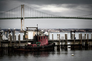 Steel Pier Posters - Red Tugboat and Newport Bridge II Poster by Joan Carroll
