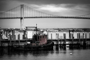 Overpass Framed Prints - Red Tugboat and Newport Bridge Framed Print by Joan Carroll
