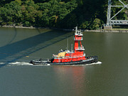 Hudson River Tugboat Photos - Red Tugboat by Phyllis Tarlow
