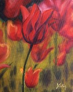 Dew Painting Posters - Red Tulips Poster by Donna Tuten