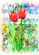 Photomanipulation Photo Prints - Red Tulips photoart Print by Debbie Portwood