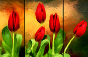 Red And Green Prints - Red Tulips Triptych Print by Lourry Legarde