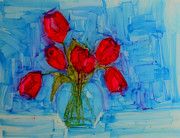 Olive Green Drawings Posters - Red Tulips with blue background Poster by Patricia Awapara