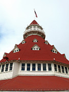 Stopper Posters - Red Turret - Hotel del Coronado Poster by Connie Fox
