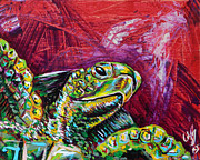 Save The Sea Turtle Paintings - Red Turtle by Lovejoy Creations