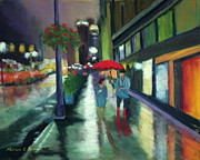 New York Pastels Posters - Red Umbrella in New York City Poster by Marion Derrett