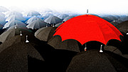 Surreal Art Mixed Media Framed Prints - Red Umbrella In The City Framed Print by Bob Orsillo