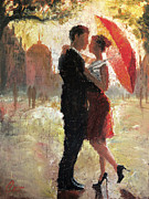 Daily Painter Prints - Red Umbrella Romance Print by Christopher Clark