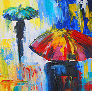 Storm Prints Painting Prints - Red Umbrella Print by Susi Franco