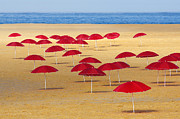 Beach Prints - Red Umbrellas Print by Carlos Caetano