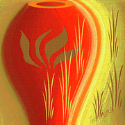 Grass - Red Vase by Ben and Raisa Gertsberg