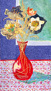 Diane Fine Mixed Media Prints - Red Vase I Print by Diane Fine