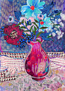 Table Cloth Mixed Media Prints - Red Vase III Print by Diane Fine
