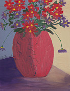 Kate Farrant Posters - Red Vase of Flowers Poster by Kate Farrant