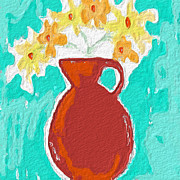 Teal Mixed Media Posters - Red Vase Of Flowers Poster by Linda Woods