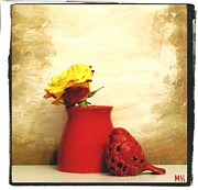 Brown Tones Framed Prints - Red Vase Red Bird and Red Yellow Rose Framed Print by Marsha Heiken