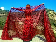 Dancer Tapestries - Textiles Prints - Red veil. Ameynra bellydance fashion Print by Ameynra Fashion