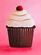 Whimsical Prints - Red Velvet Cupcake by Shawna Erback Print by Shawna Erback
