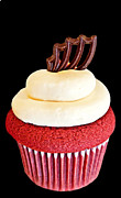 Frosting Framed Prints - Red Velvet Cupcake on Black Framed Print by Valerie Garner