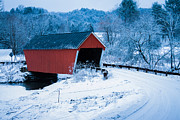 Winter Roads Digital Art Posters - Red Vermont covered bridge Poster by Jeff Folger
