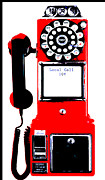 Vintage Telephone Prints - Red Vintage Telephone Pop Art Print by ArtyZen Studios