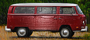 Hippie Van Posters - Red Volkswagon Microbus Poster by Bill Cannon