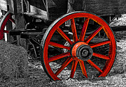 Hay Wagon Framed Prints - Red Wagon Wheel Framed Print by Jack Zulli