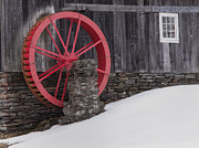 Vermont Country Store Posters - Red Water Wheel Poster by Tom Singleton