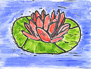 Lino Cut Posters - Red Waterlily Poster by Lynn-Marie Gildersleeve