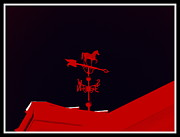 Weathervane Prints - Red Weather Vane With Snow On The Roof . border Print by Renee Trenholm