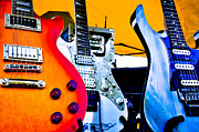 Rock Groups Metal Prints - Red White and Blue Guitars Metal Print by David Patterson