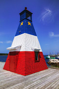 Light Art - Red White And Blue Lighthouse by Garry Gay
