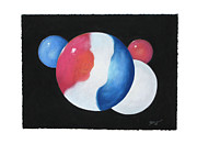 Patriotism Originals - Red White and Blue Marbles by Flo Hayes