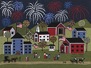 4th July Painting Prints - Red White And Blue Print by Medana Gabbard