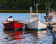 Fishing Boat Reflection Prints - Red White and Blue Print by Rick McKinney