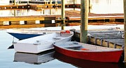 Row Boat Digital Art - Red White and Blue Row Boats by Paulette  Thomas