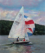 Red White And Blue Sailboat Print by Viola El