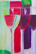 Wine Glasses Paintings - Red White and Blush by Debi Pople