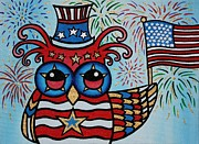 Fourth Of July Painting Originals - Red White and Woooo by Lindsay Carpenter